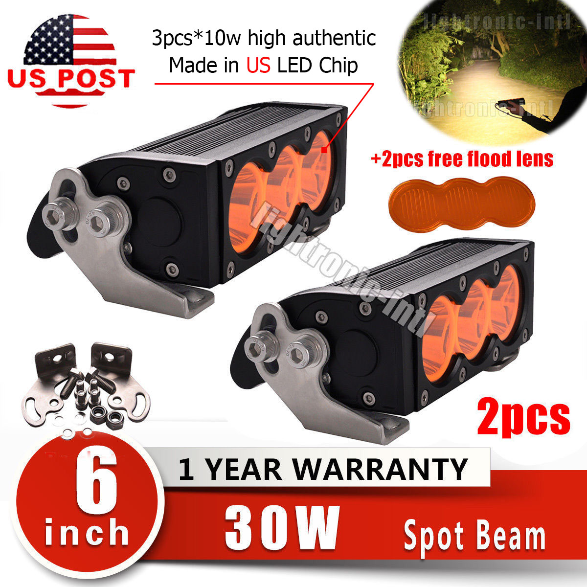 "Spot Lens 2pcs 30W 6/"" LED Work Light Bar Flood Beam Offroad SUV ATV Jeep"
