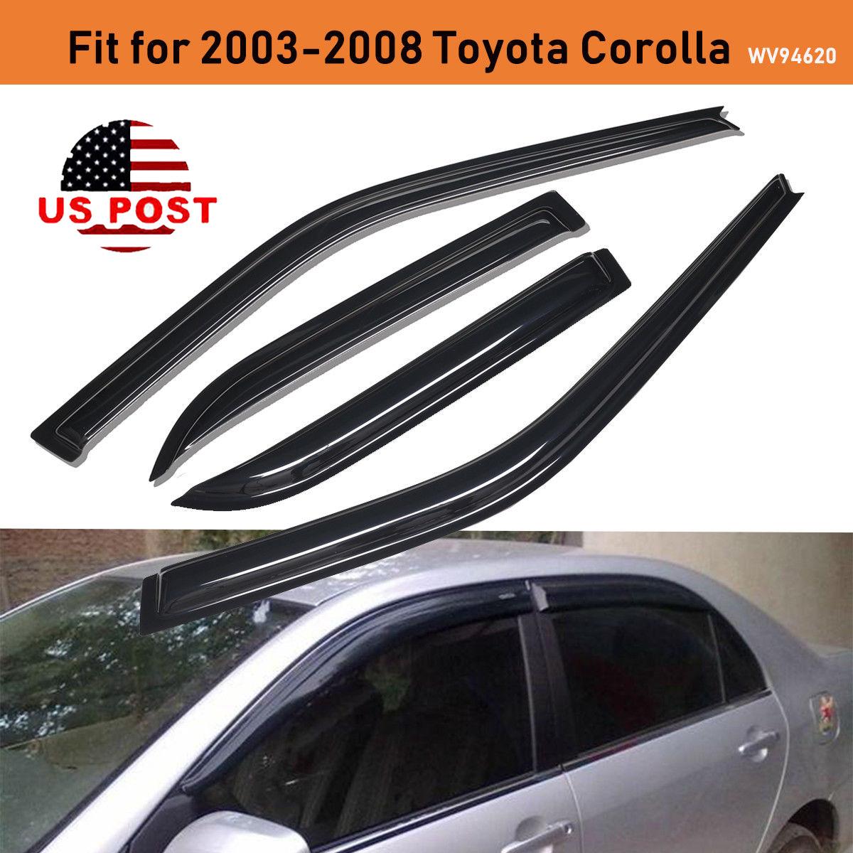 4PCS Window Visor Sun Rain Guard Deflector Shade For 2003-2008 Toyota Corolla