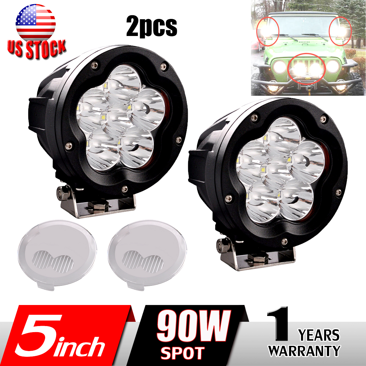 Details About 2x 5 Inch 90w Round Led Work Light Spot Driving Fog Lamp Offroad Headlight 4x4