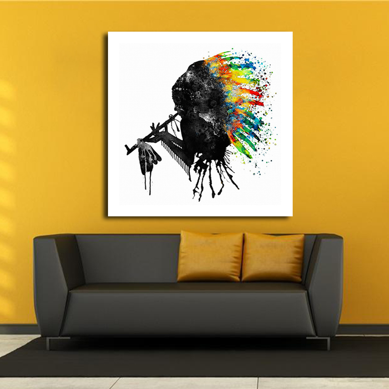 Native American Abstract Black Silhouette Oil Painting Canvas Wall ...