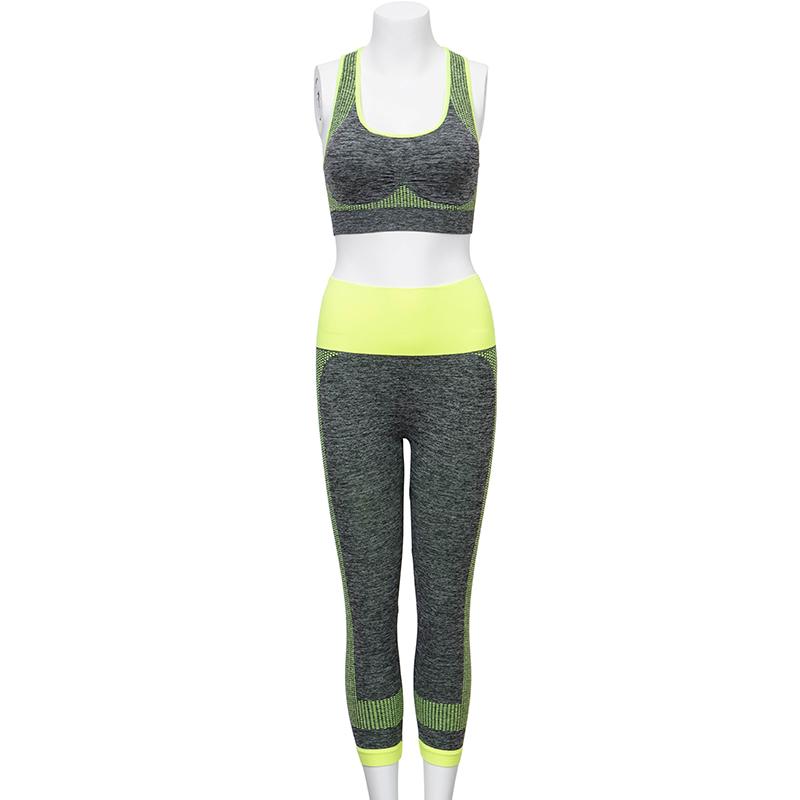 6461b4e45e7 Women s Yoga Fitness Seamless Bra+Pants Leggings Set Gym Workout Sports Wear