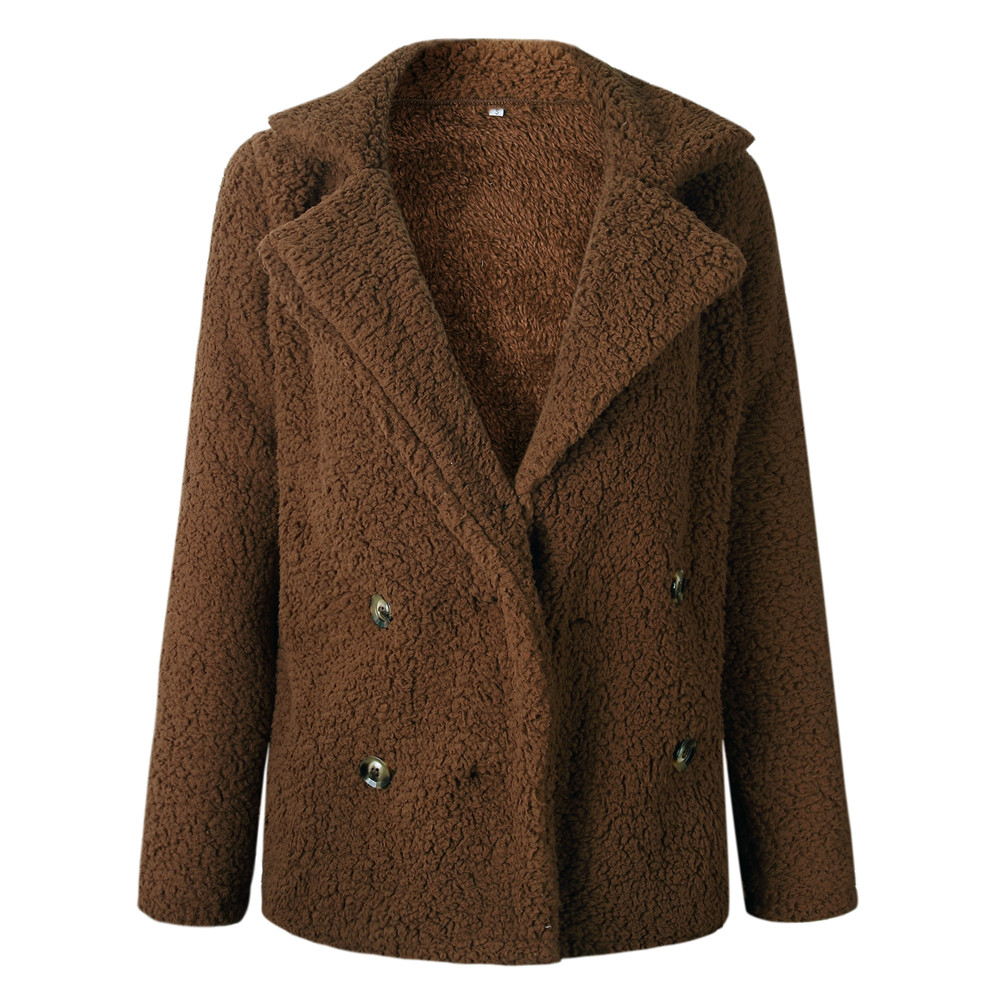 UK 8-22 Womens Button Fluffy Jacket Cardigans Ladies Warm Jumper Fleece Fur  Coat 541b1d784