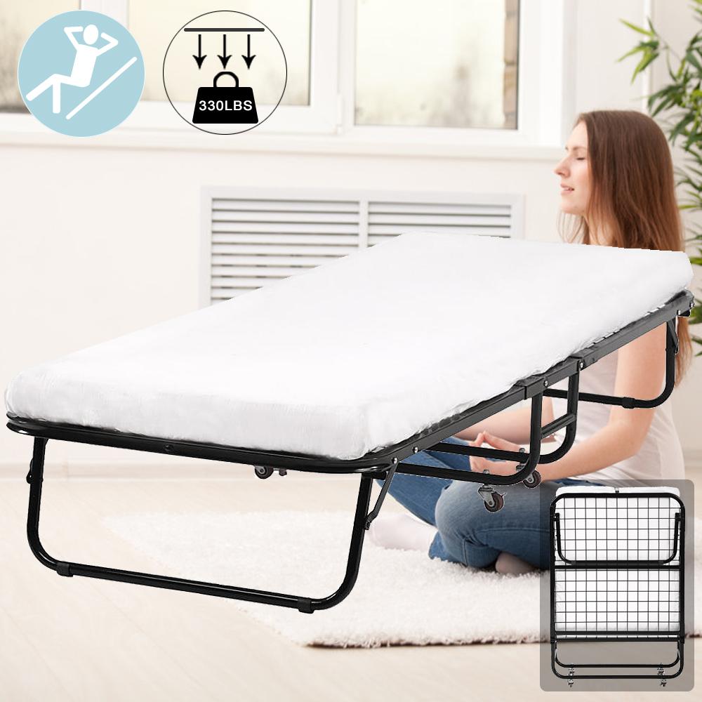 Folding Rollaway Guest Metal Bed Frame w/3inch Memory Foam ...