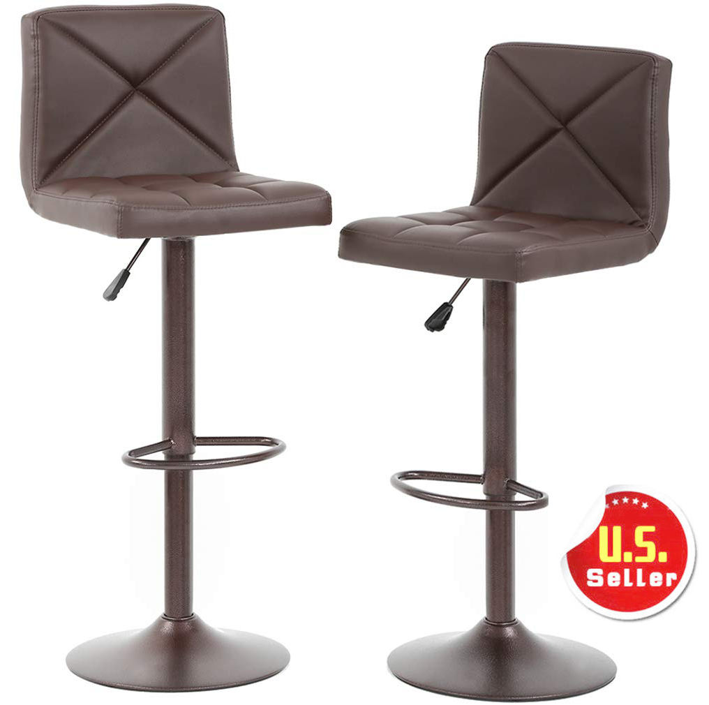 Bar Stools Set Of 2 Counter Height Adjustable Pu Leather