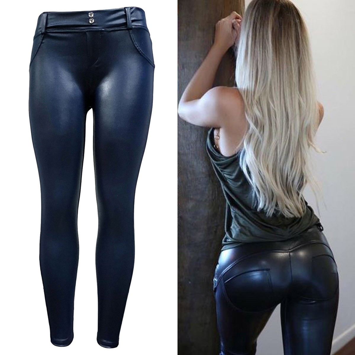 0ec603b117ca9a Details about Women s Solid High Elastic Leather Pants Ladies Casual Skinny  Tight Trousers