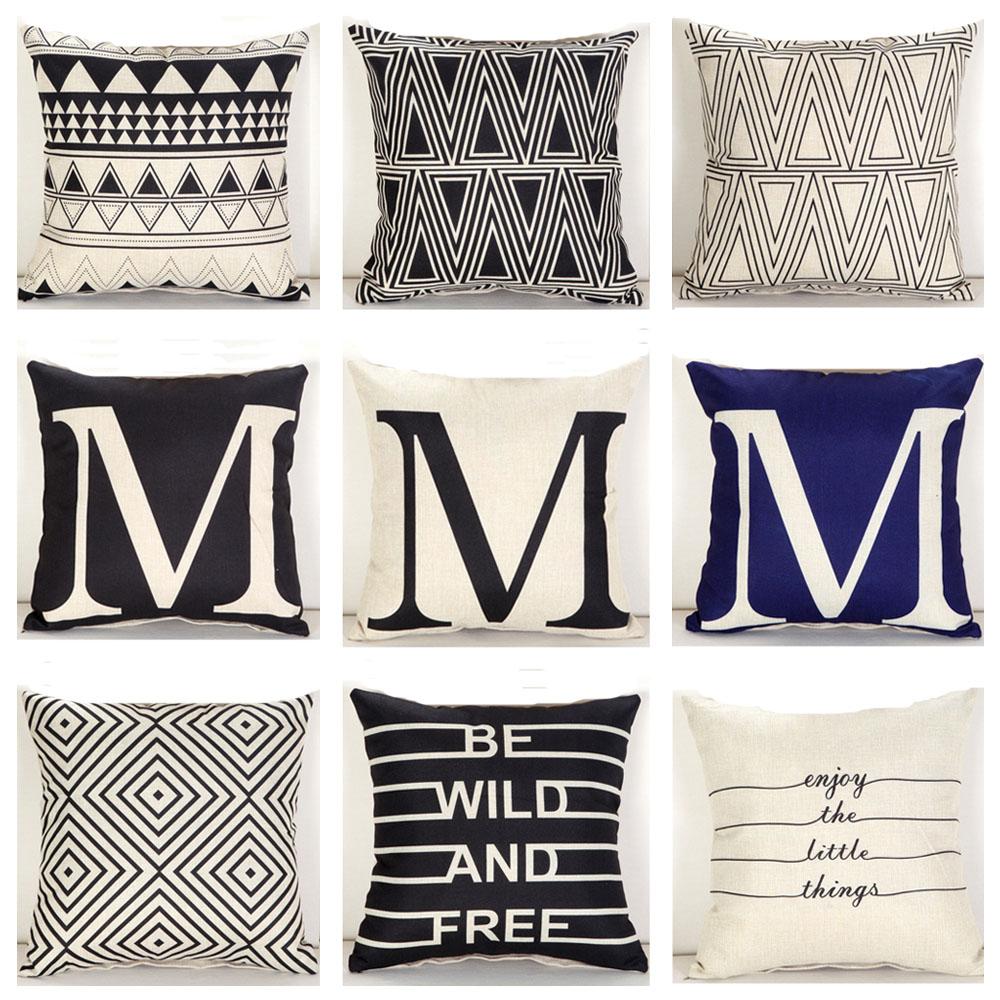 schwarz wei buchstabe wort geometrisch leinen kissenbez ge dreieck sofakissen ebay. Black Bedroom Furniture Sets. Home Design Ideas
