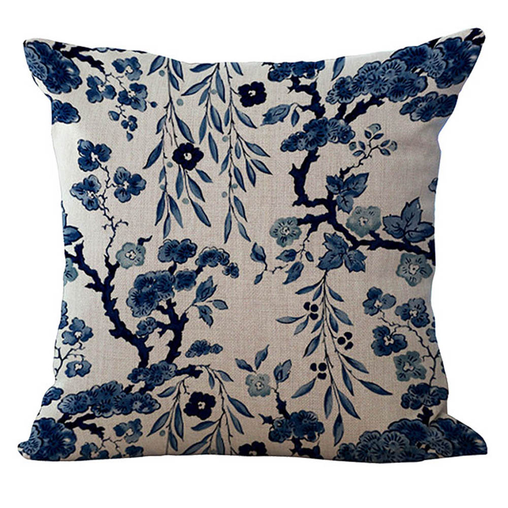 NEW Chinese style blue and white porcelain Cotton Linen Pillow Case Cover A327