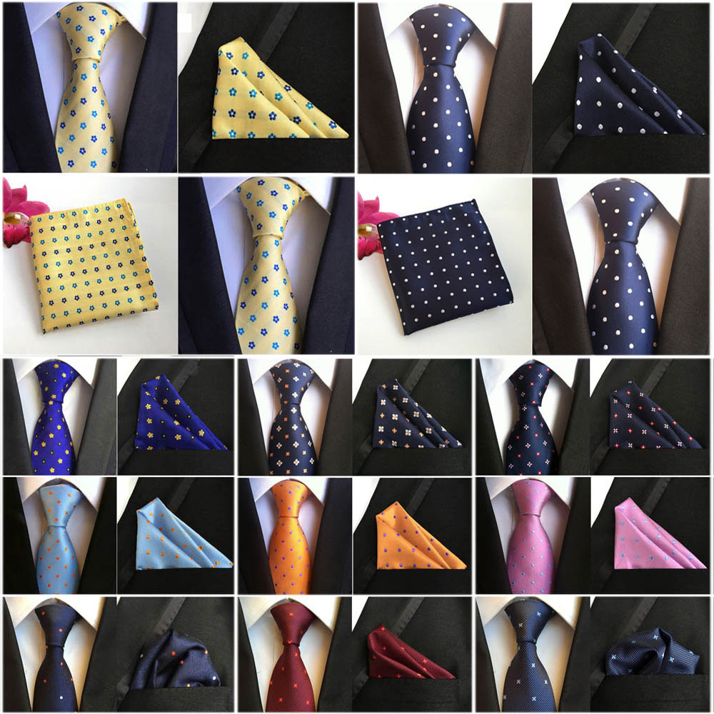 Men White Navy Blue Polka Dots Silk Necktie Cravat Ascot Pocket Square Set Lot
