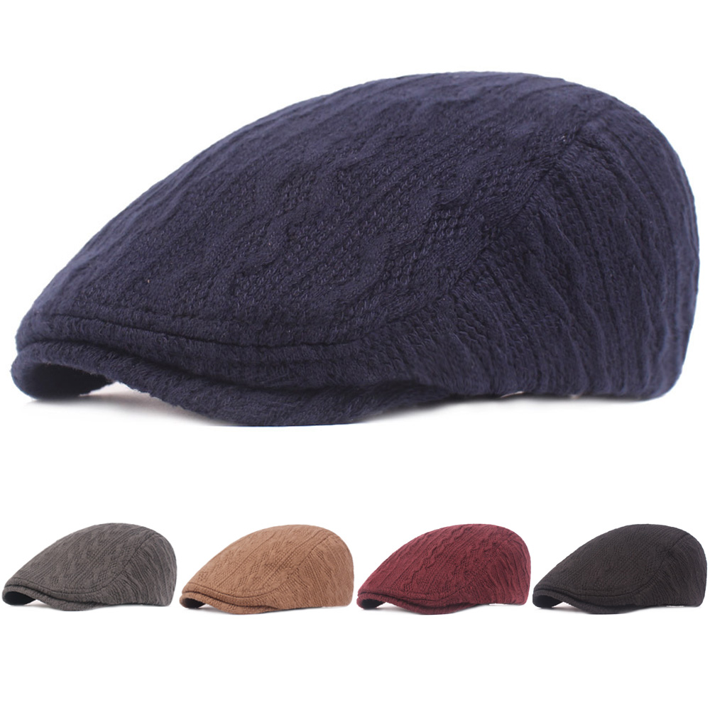 fbf706370 Details about Men's Winter Warm Knitted Beret Cap Adjustable Casual Driving  Golf Newsboy Hat