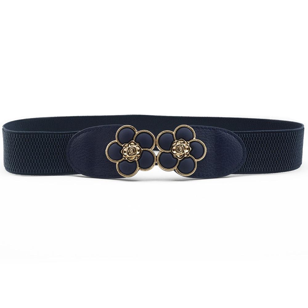 Lady Women Classic Metal Floral Buckle Waist Belt Faux Leather Elastic Waistband