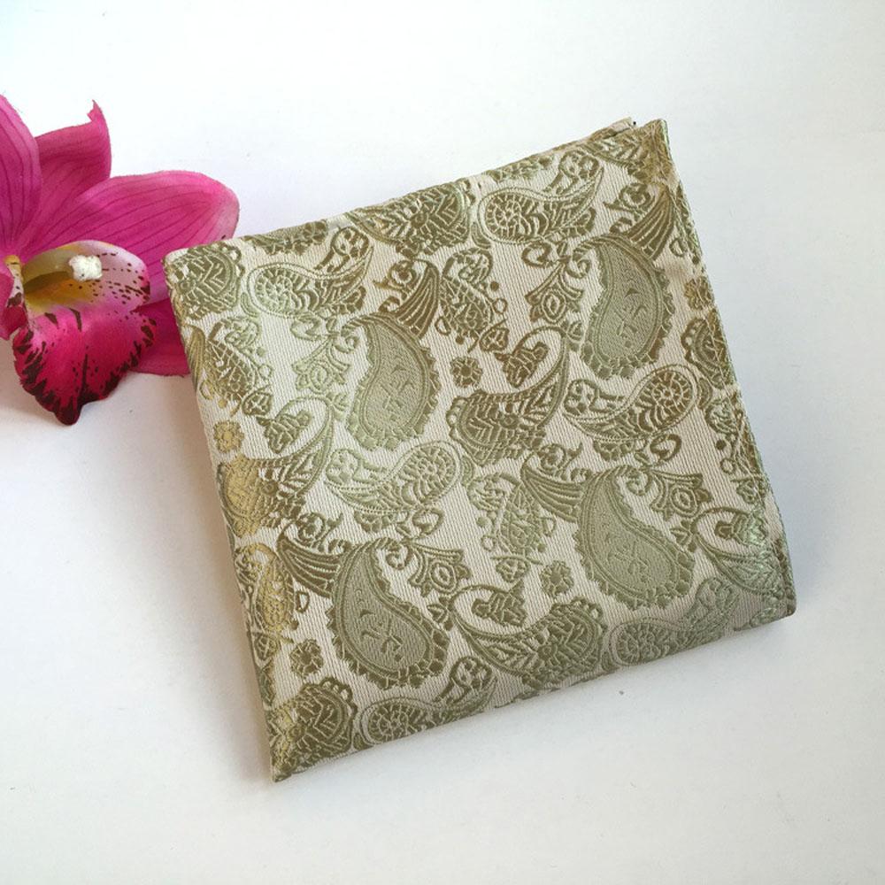 Men Champagne Paisley Floral Silk Tie Pocket Square Handkerchief Set Lot HZ069