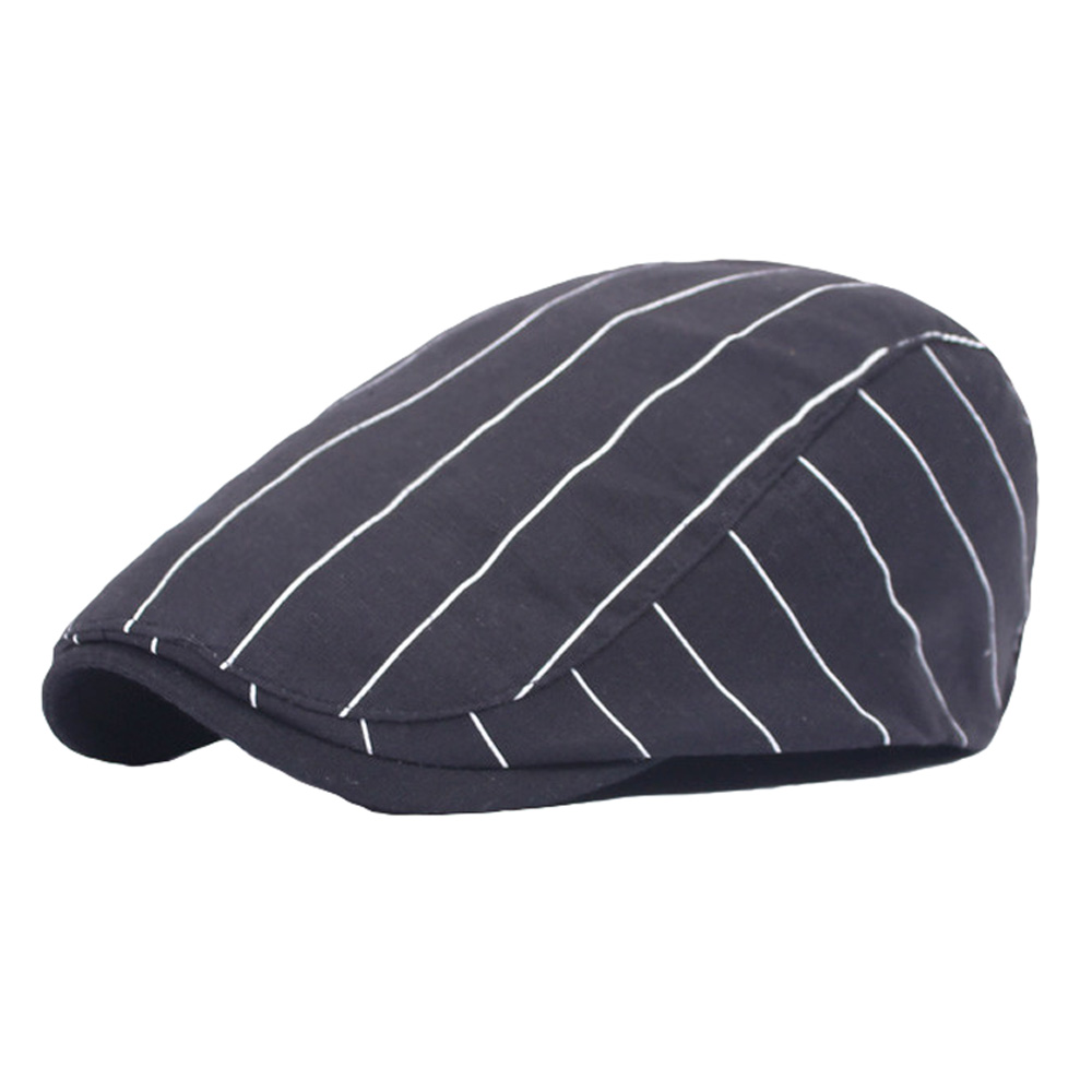 Black//White Unisex Men Women Striped Casual Hat Adjustable Driving Beret Cap