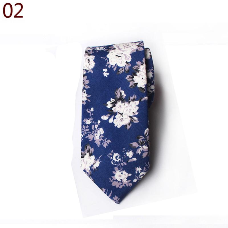 Men Cotton High Quality Flowers Paisley Skinny Neckties Wedding Casual Tie