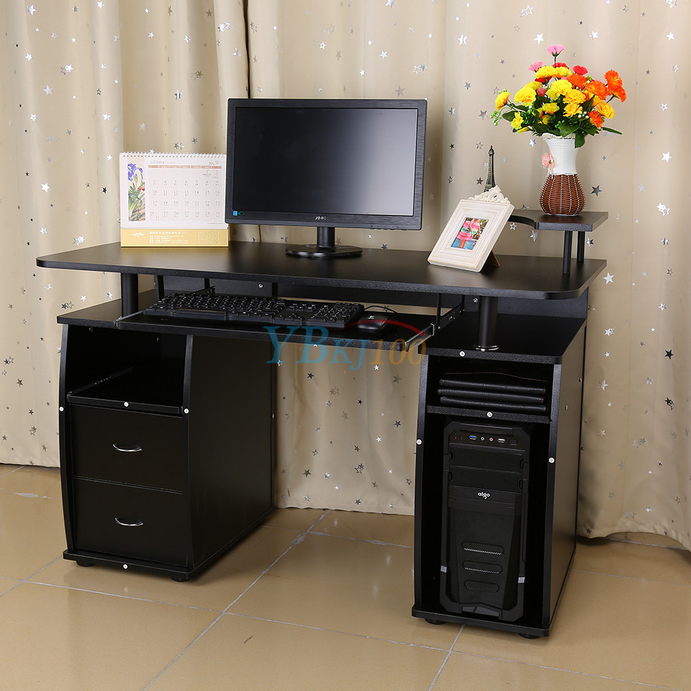 Computertisch modern  Computertisch PC Schreibtisch Arbeitstisch Büro Tisch Schwarz ...