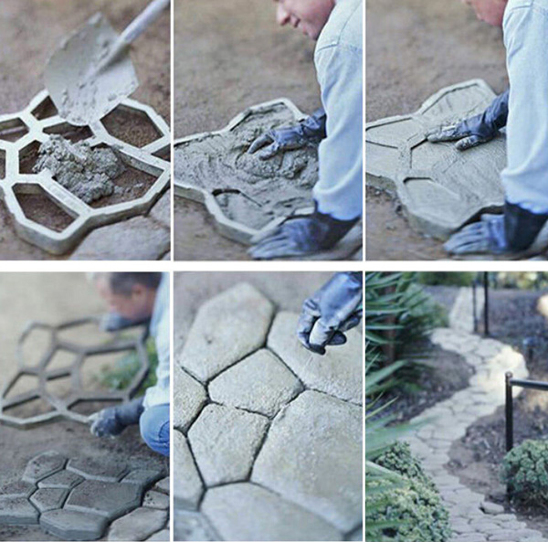 Perfect Black Paving Mold Garden Patio Driveway Concrete Stepping Stone Cement Molds  Hot