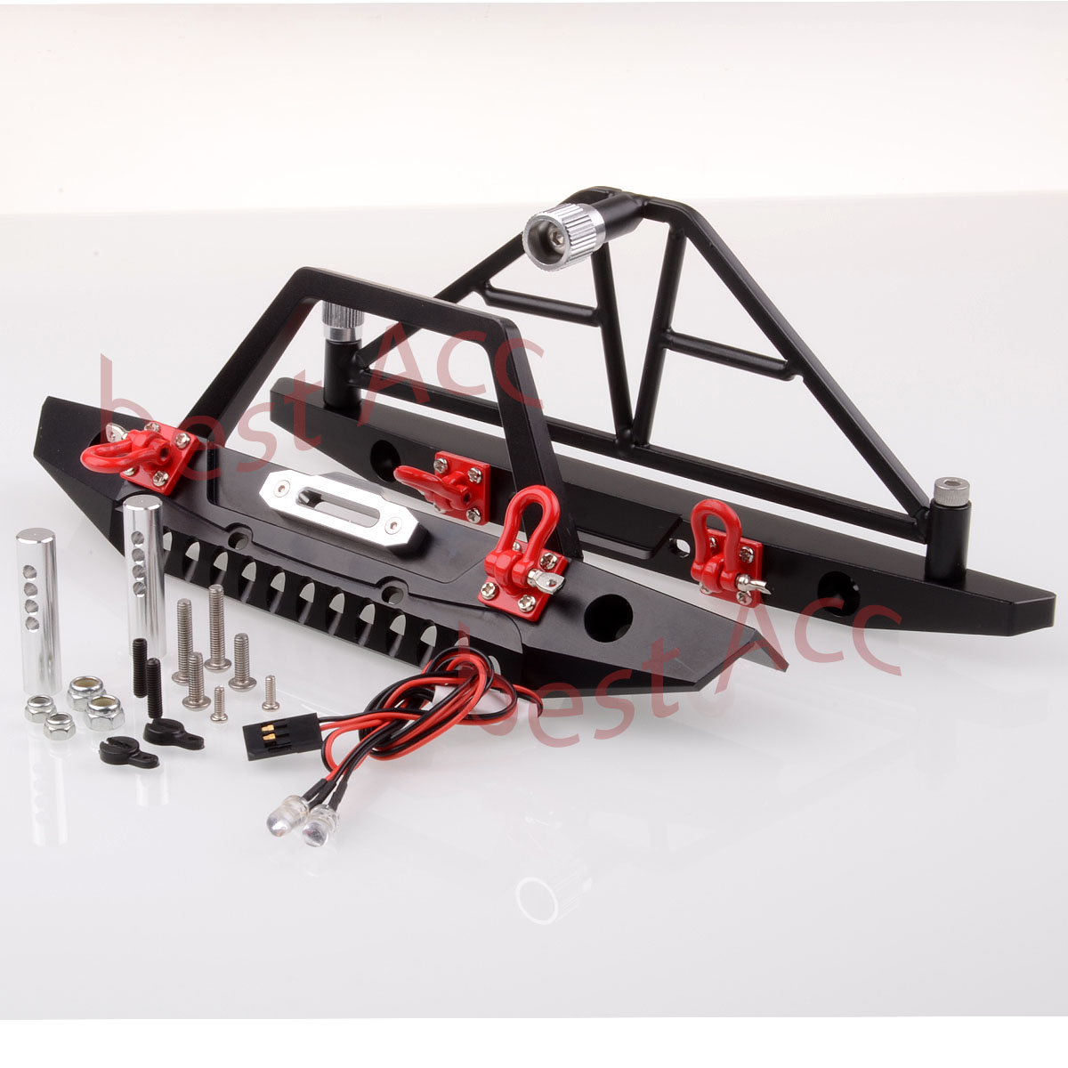 Details about Front / Rear Bumper Spare Tire Carrier LED RC 1:10 AXIAL SCX10 Crawler Metal HSP