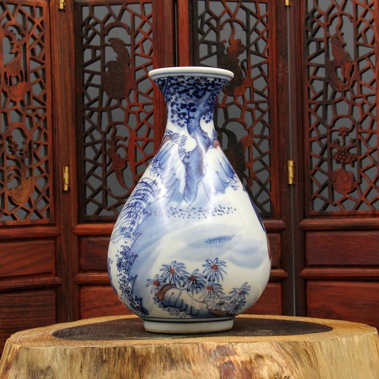 China Antique Porcelain Qianlong Blue White Fish Weng Character Yuhu