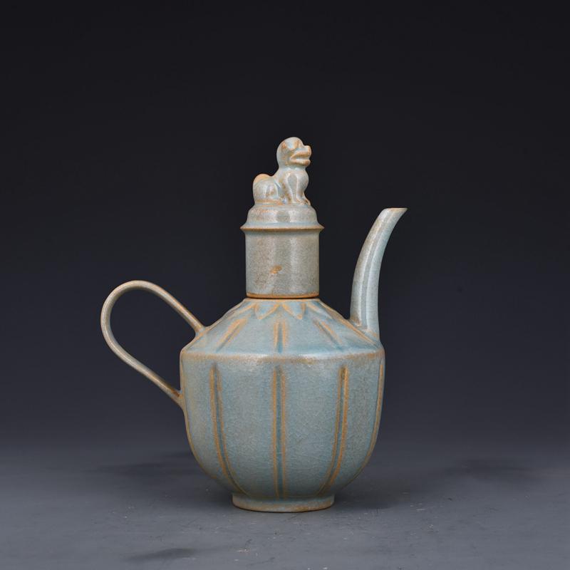 China antique Porcelain Song Ru kiln celeste glaze lettering vase Collection