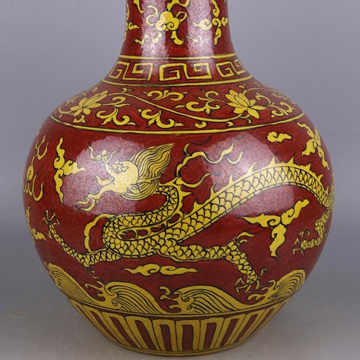 China Antique Porcelain Hand Painted Ming Wanli Red Glaze Dragon