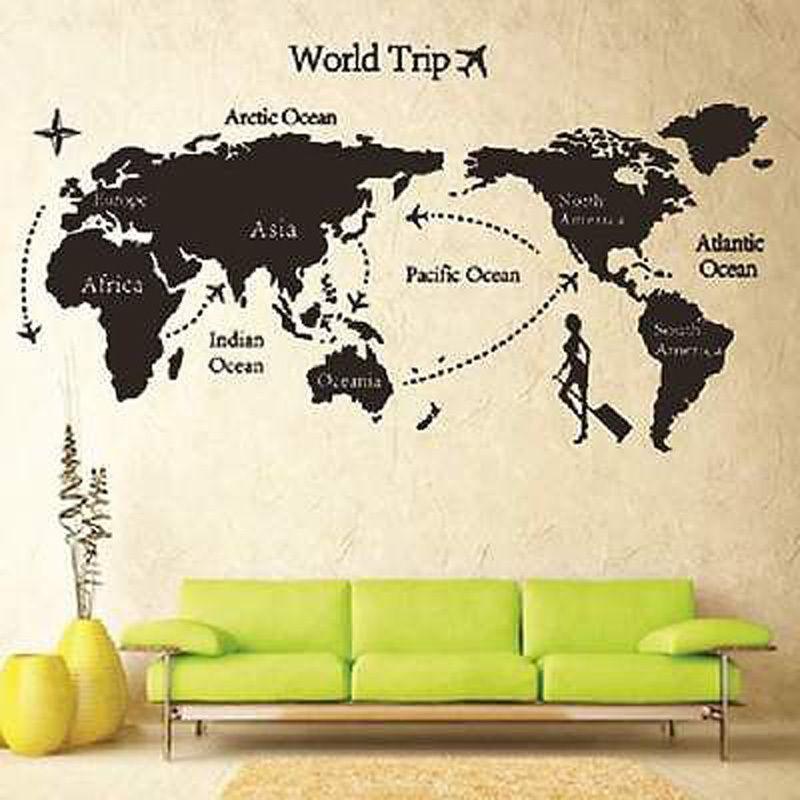 World trip travel map wall stickers art vinyl decal home decor world trip travel map wall stickers art vinyl decal home decor wallpaper mural e gumiabroncs Choice Image