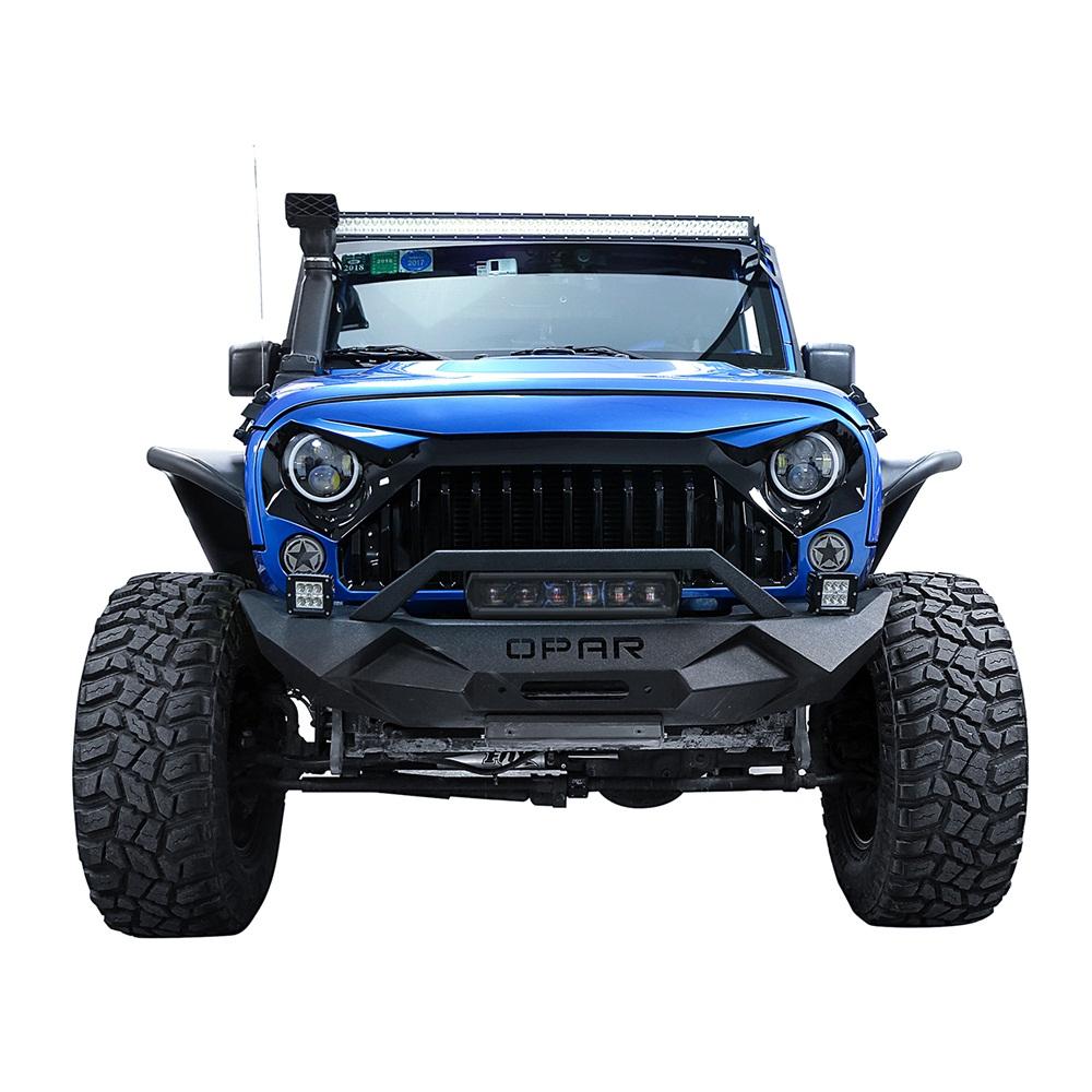 Rock crawler negro parachoques delantero con barra de luz led 60 w rock crawler black front bumper w 60w led light bar for 07 18 jeep wrangler jk aloadofball Images