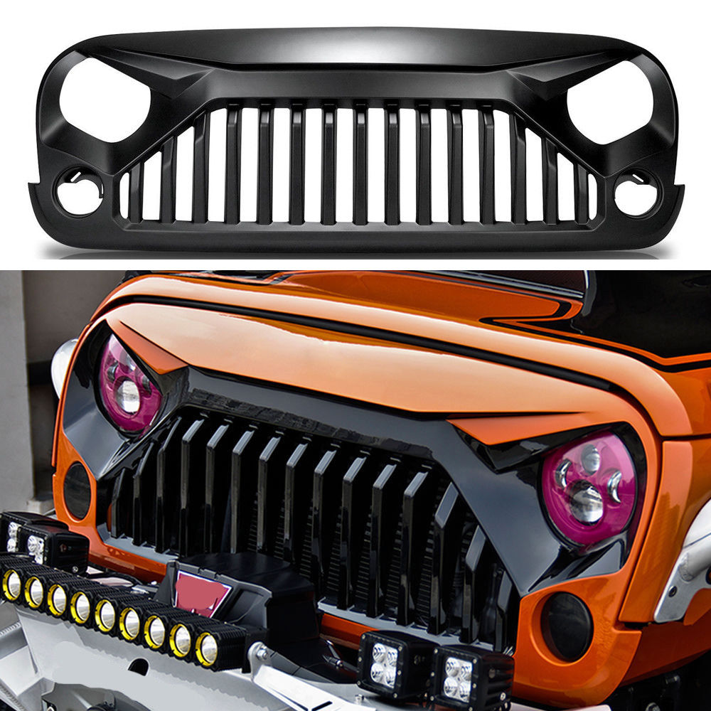 Front ABS Matte Black Grille Grid Grill For Jeep Wrangler
