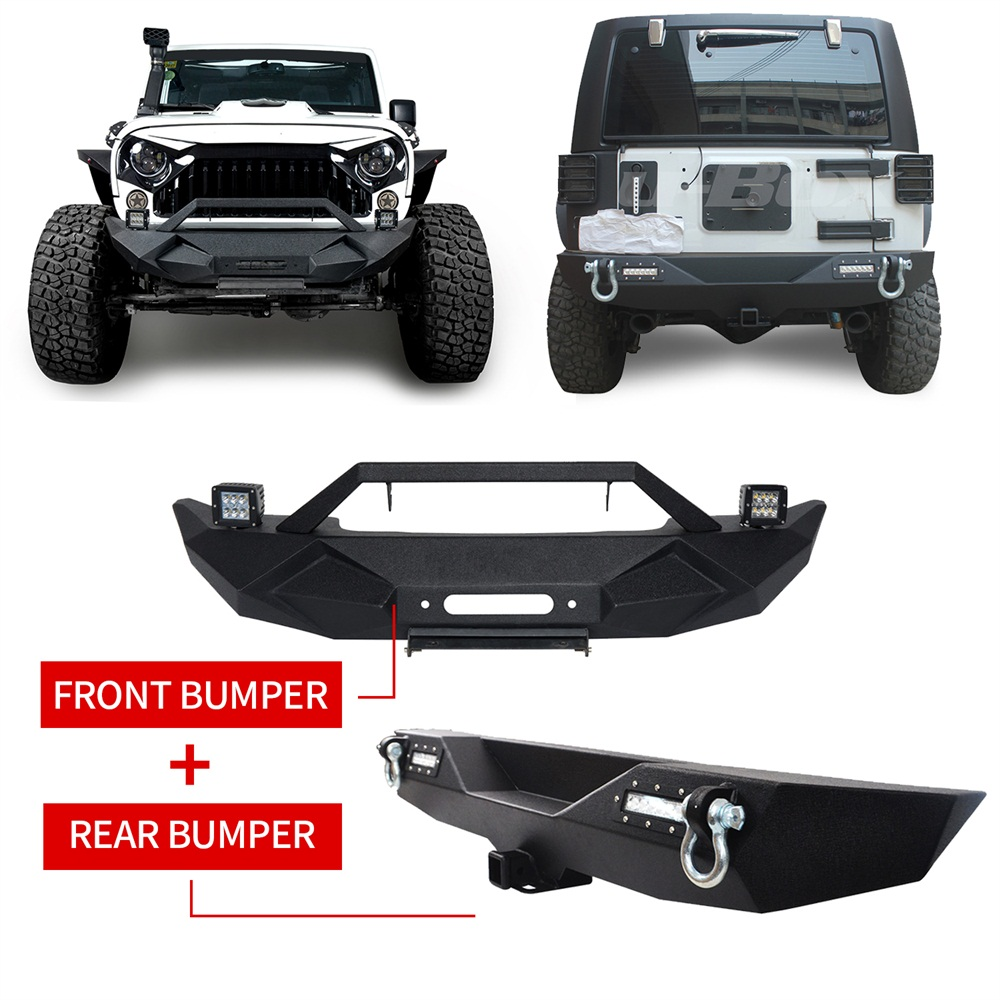 New Front And Rear Bumper D Rings Winch Plate Led Light For Jeep Wrangler 2008 07 18