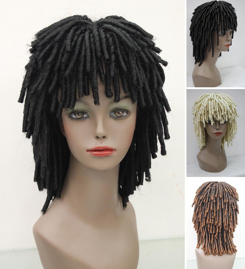 Dreadlock Black Wig Ruud Gullit Short Jamaican Rasta Man FancyDress Dreads Woman