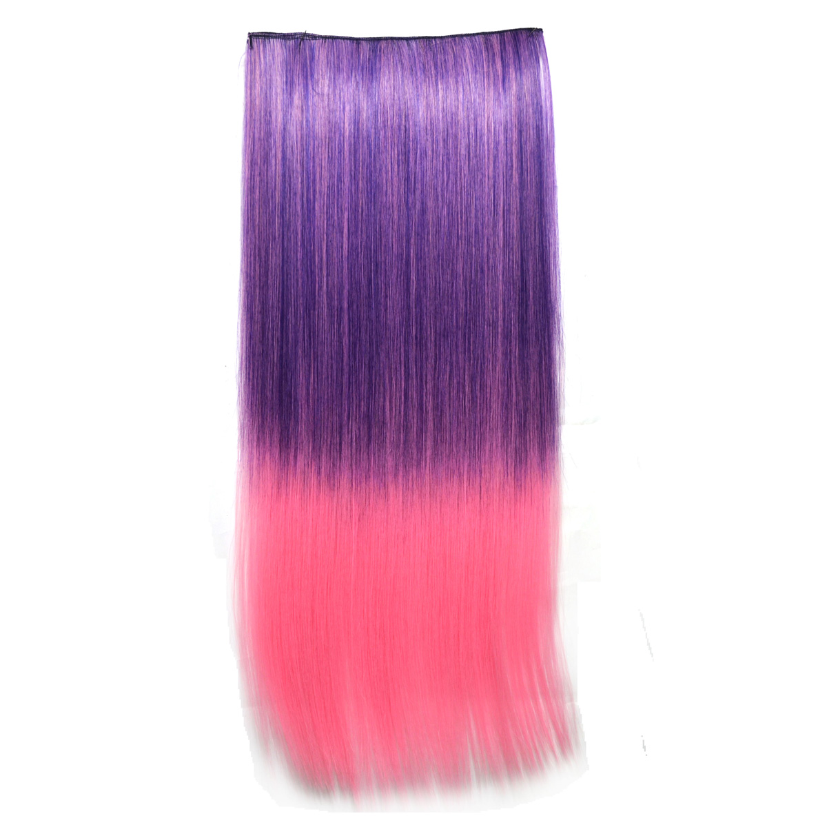 Dark Purple Light Pink Ombre Long Straight Clip In Hair Extensions
