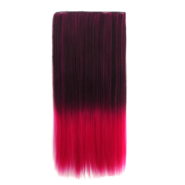 Black Red Ombre 60cm Long Straight Clip In Hair Extensions 236 Inch