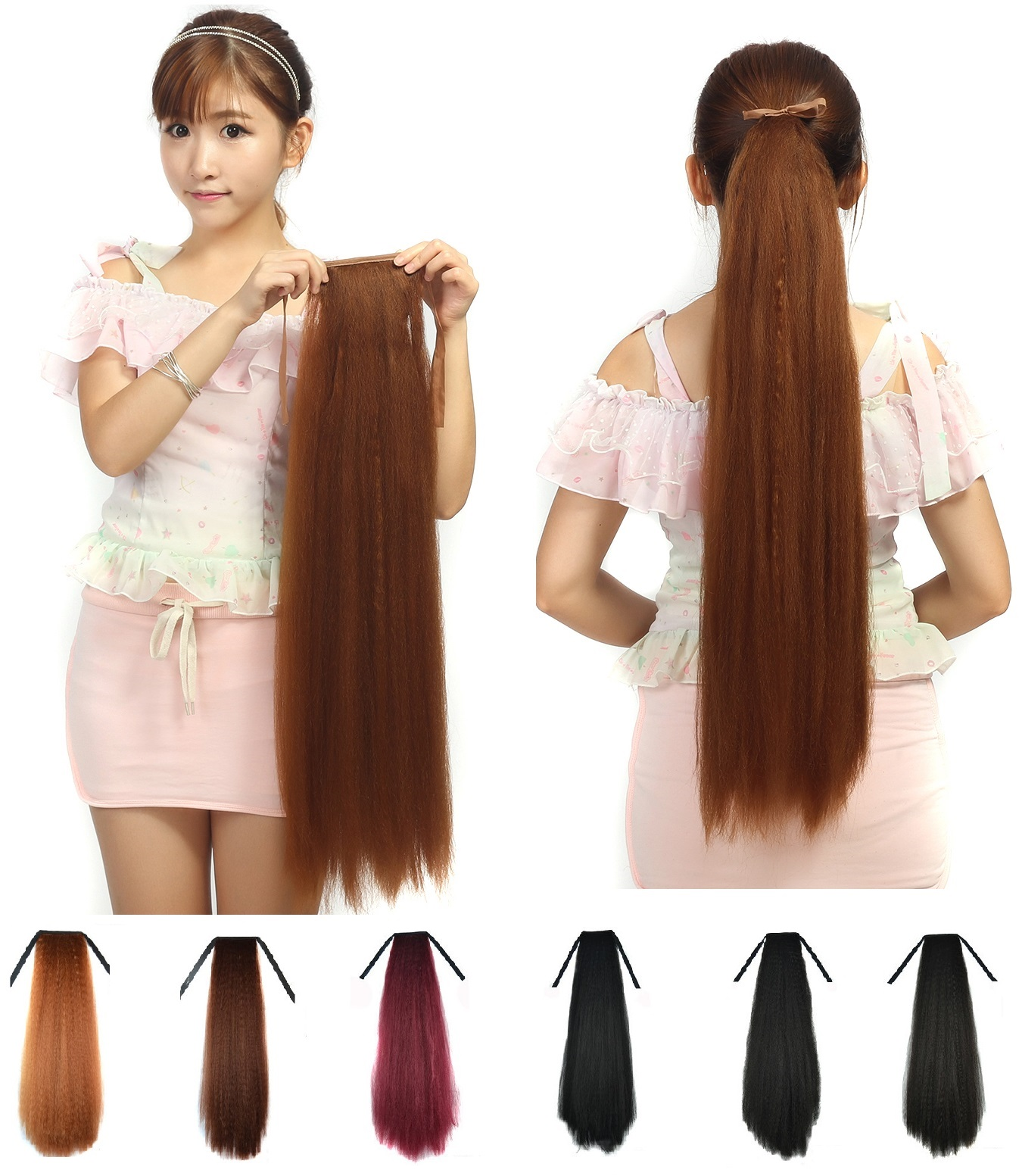 Long Straight Fluffy Yaki Ponytail Wrap On Clip In Hair Extensions