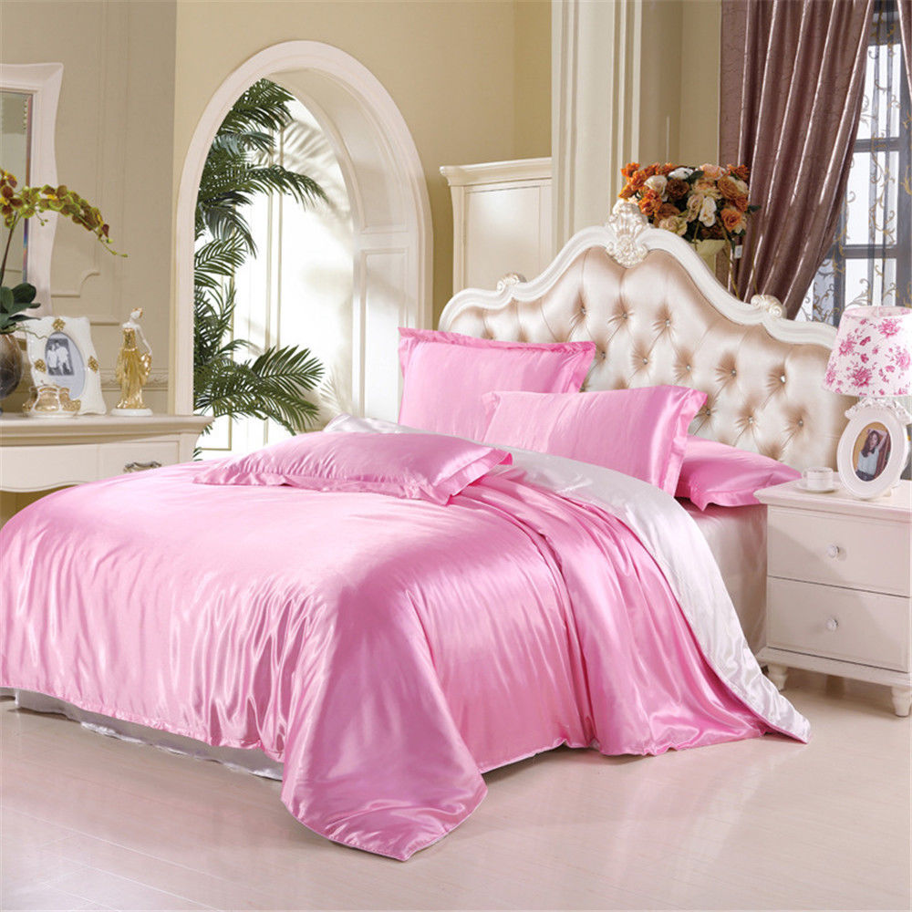 Satin Silk Bedding Set Duvet Quilt Cover Pillow Case Flat