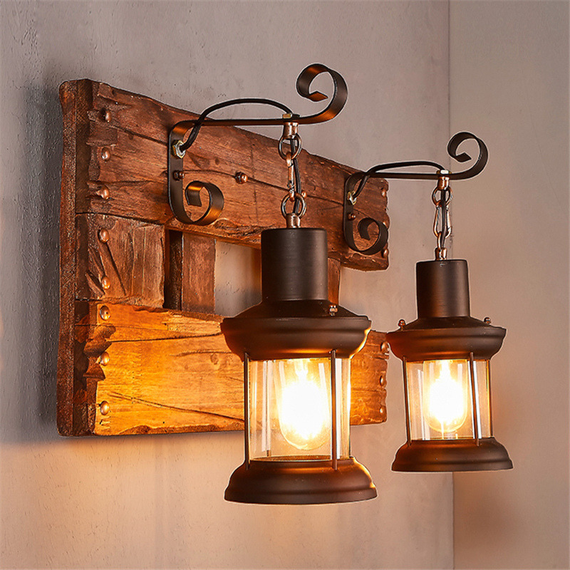 Industrial Vintage Loft Wooden Wall Sconce Cafe Retro ... on Wood Wall Sconces Decorative Lighting id=33299