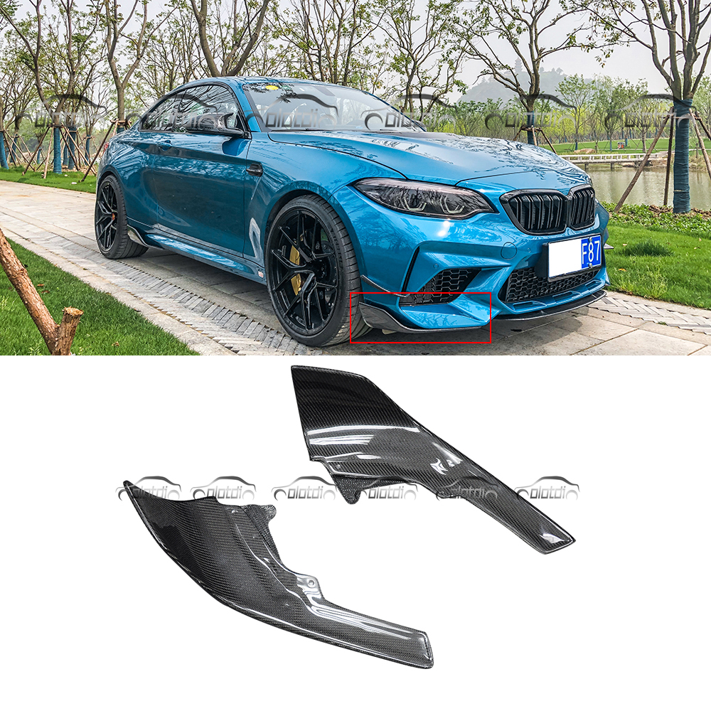 F87 M2 P Carbon Fiber For BMW Performance Style Front Lip Splitters Winglets 14+