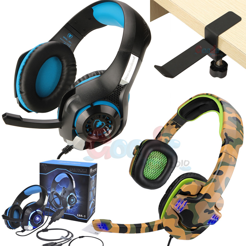 3.5mm Gaming Headset Mic LED Headphones Stereo Surround for PC Xbox 360E BA