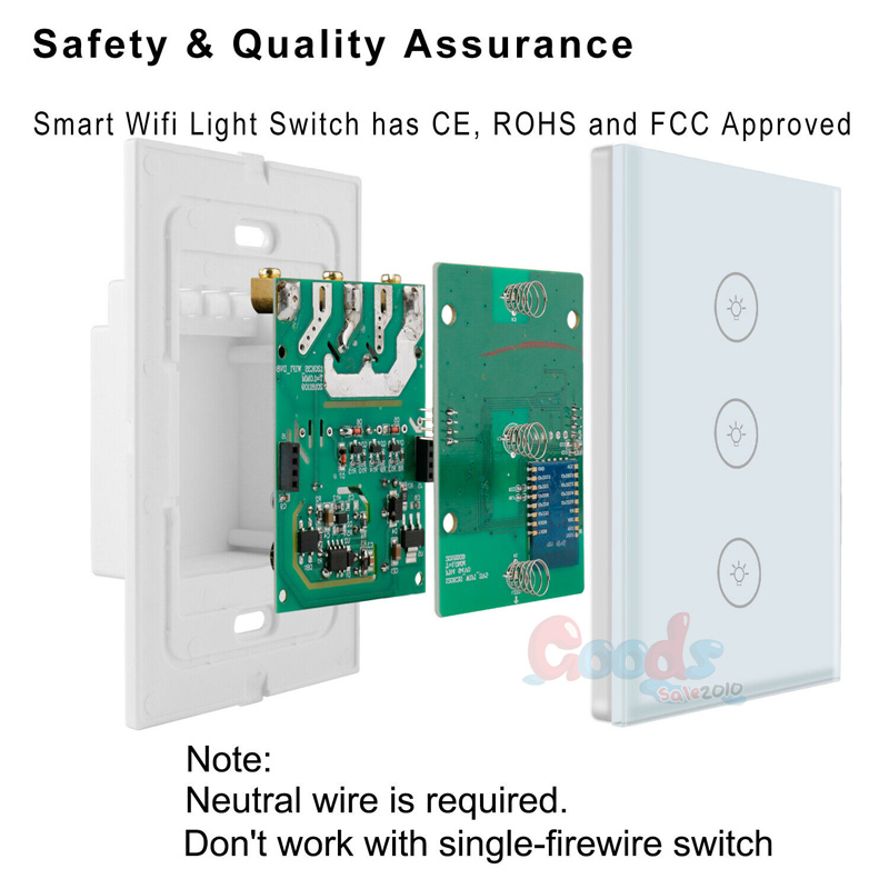 Details about 5Packs Smart WiFi Wall Light Switch Touch Panel For Amazon  Google Voice Control