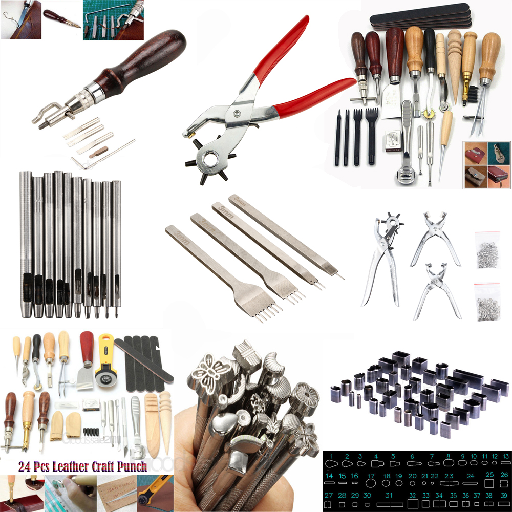 42Pcs Stamp Kit Tools Set Stamping Punch Tool Set Zinc Leather Working Tools with 1Pcs Handle for Customizing Jewelry Sewing Leather Basic Tools Clay Art