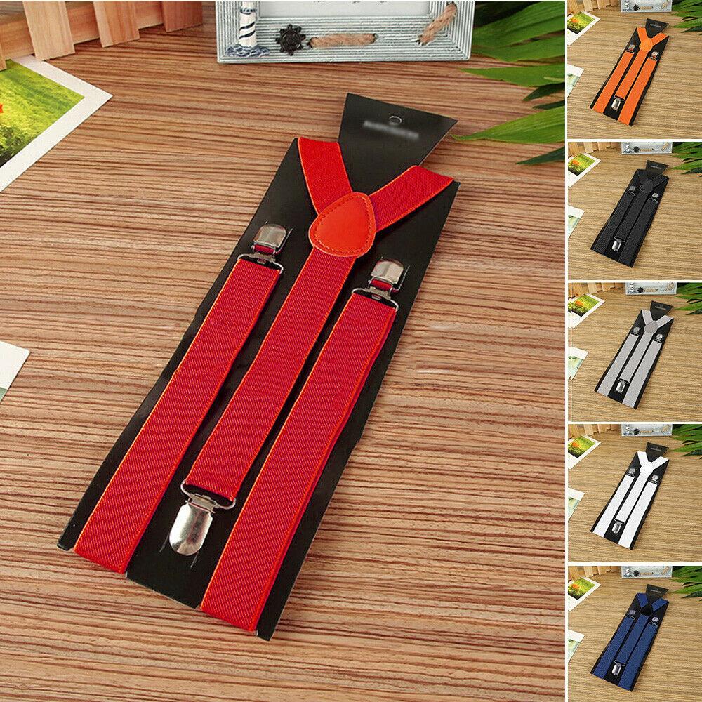 1 inch Wide Suspenders for Men Elastic Adjustable Solid Straight Clip Y Back