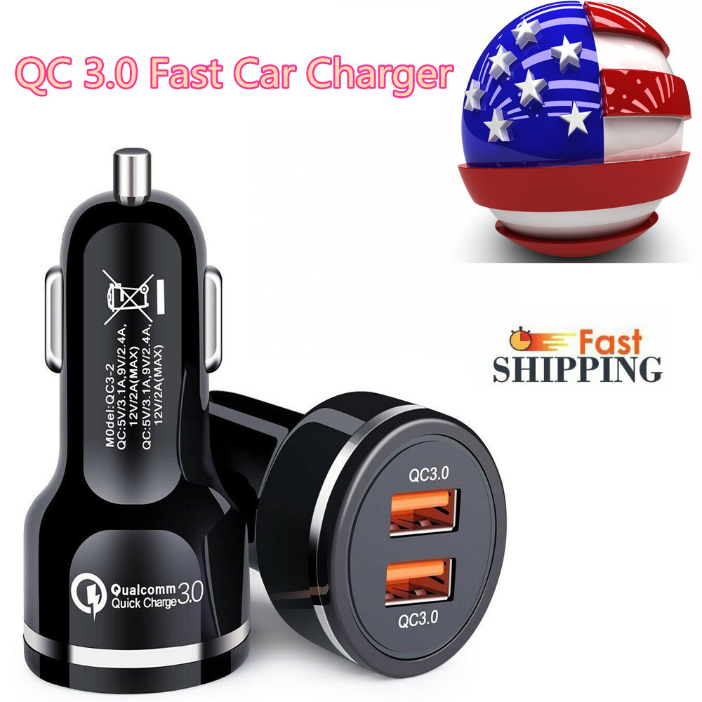 2 Dual Port USB Fast Car Charger 36W Qualcomm Quick Charge QC 3.0 iPhone Samsung