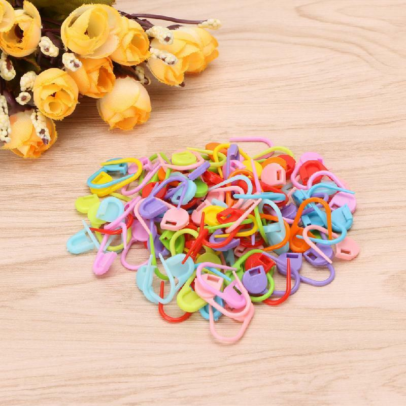 100pcs Plastic Safety Pins Locking Stitch Ring Markers for Knitting Crochet BC /%