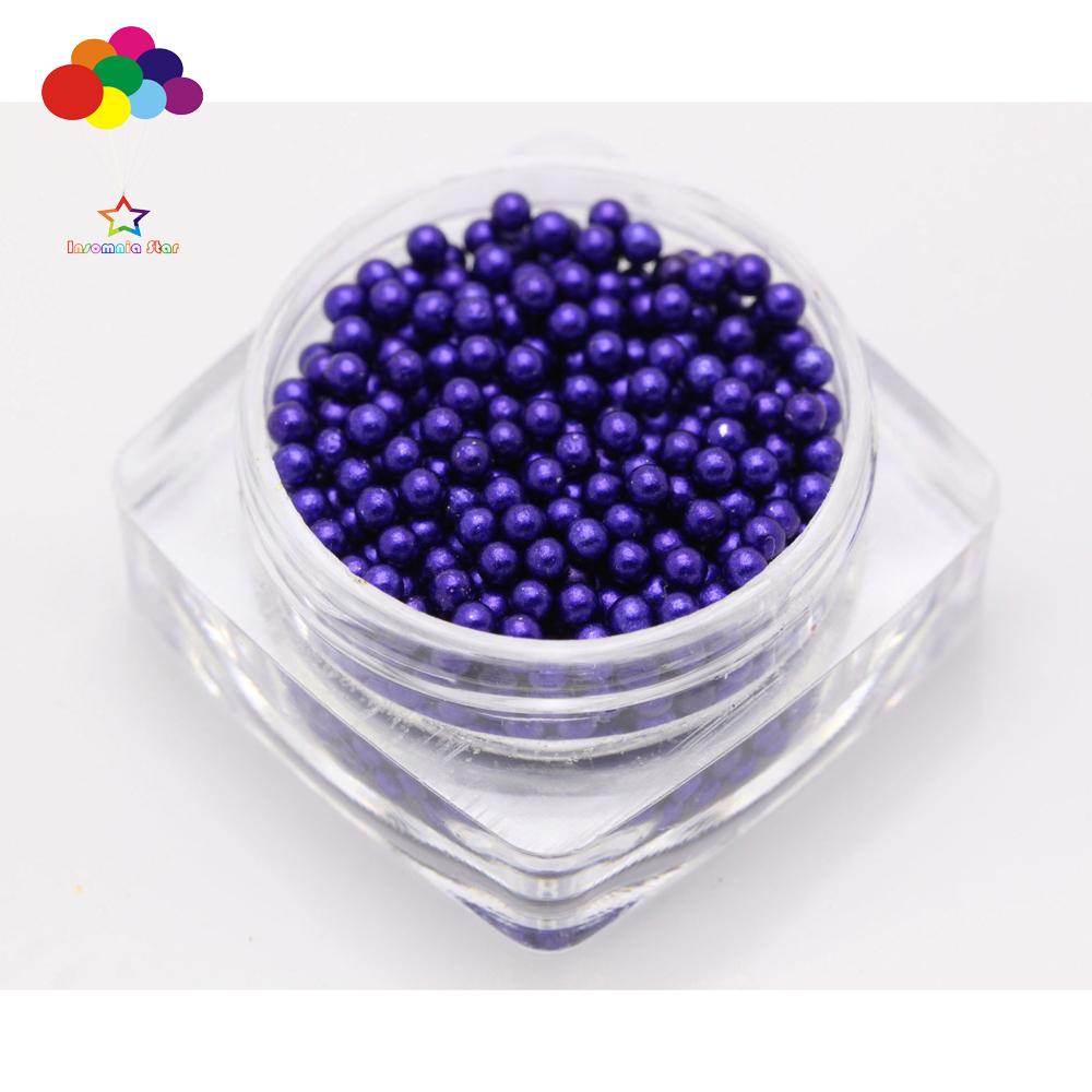 Lake blue 1000 pcs Glass small Beads No Hole 1.5-2mm Nail Art Caviar