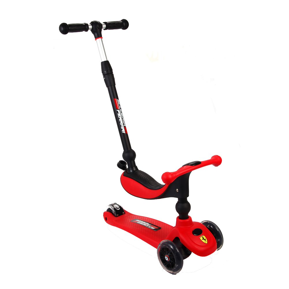 ferrari toddler baby kids kick push pedal 3 in 1 twist ride on scooter with seat ebay. Black Bedroom Furniture Sets. Home Design Ideas