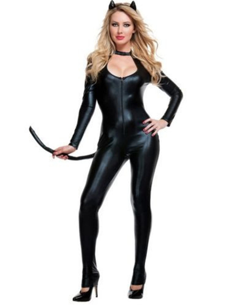 Details about Hot Leather Cat Girl Cosplay Siamese Suit Sexy Seduction Wild  Role Fashion