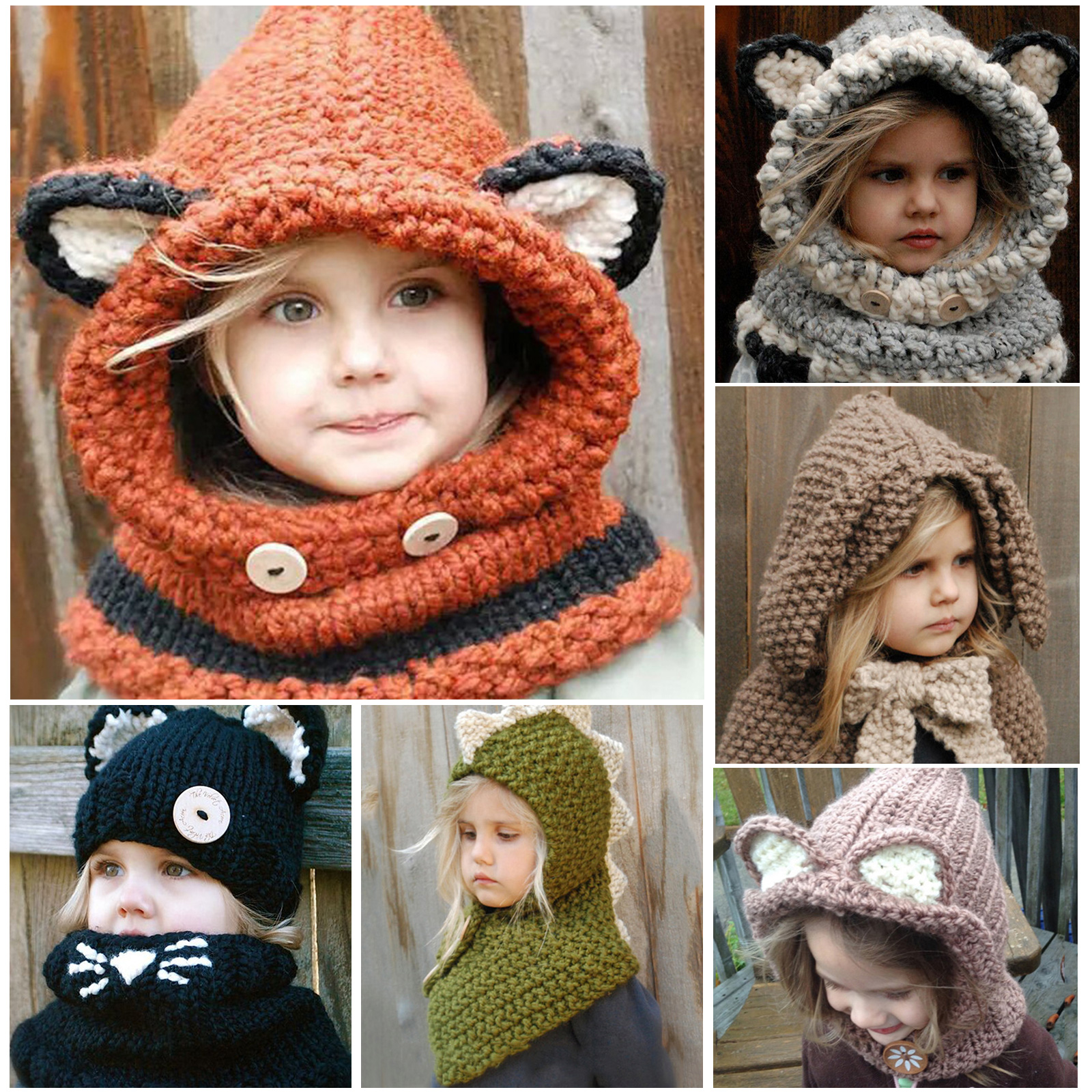 d57564d424e Details about Cute Baby Girl Boy Warm Winter Hat Cap Hood Scarf Toddler Baby  Kids Knitting Hat