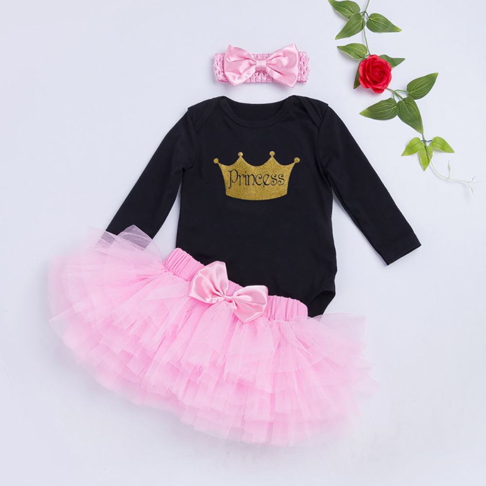 Baby Girl Birthday Outfits Clothes Long Sleeve Romper Tops Tutu Skirt Dress 3PCS