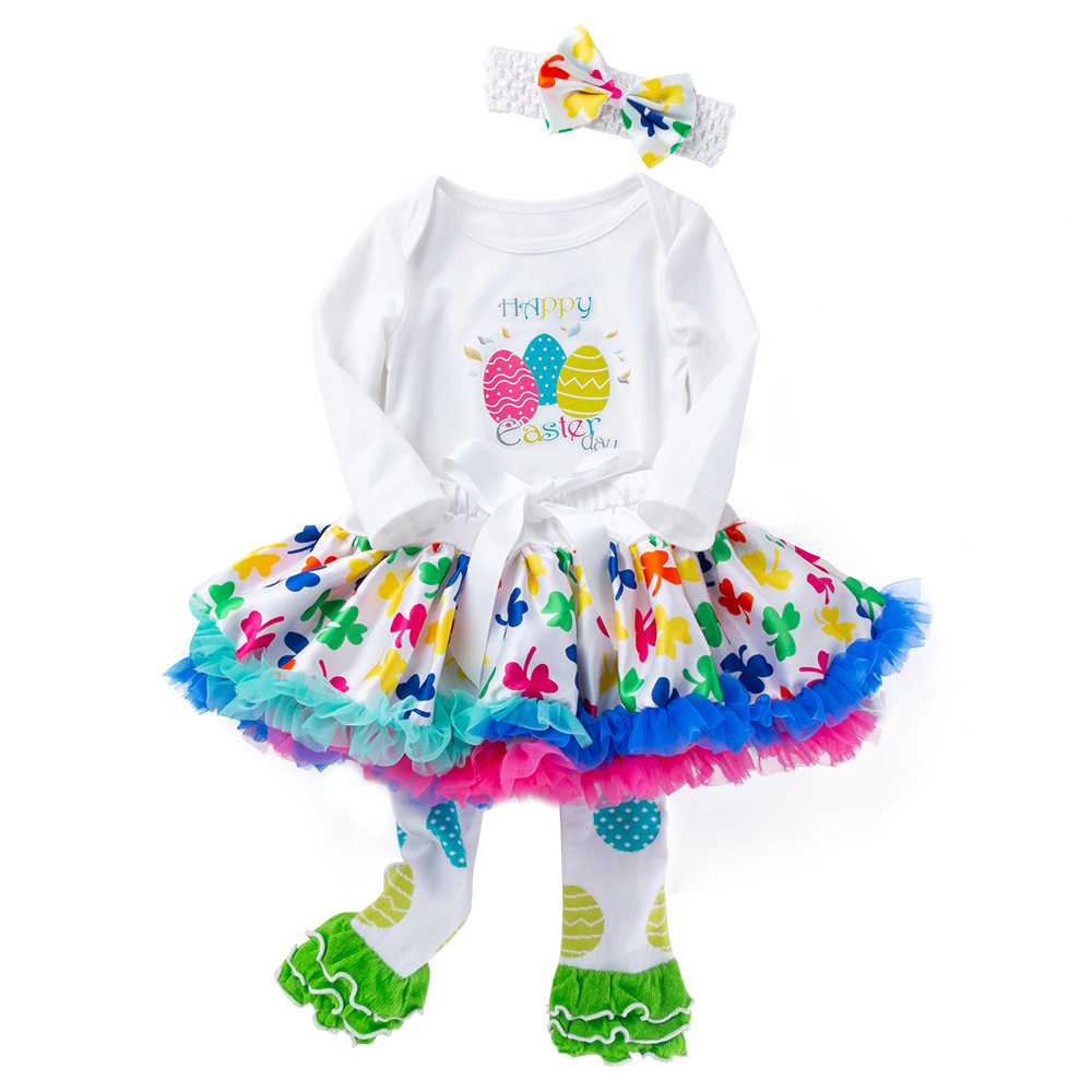 3fa60eb80 Details about Easter Infant Baby Girl Romper + Tutu Skirts + Socks + Headband  Outfits Clothes