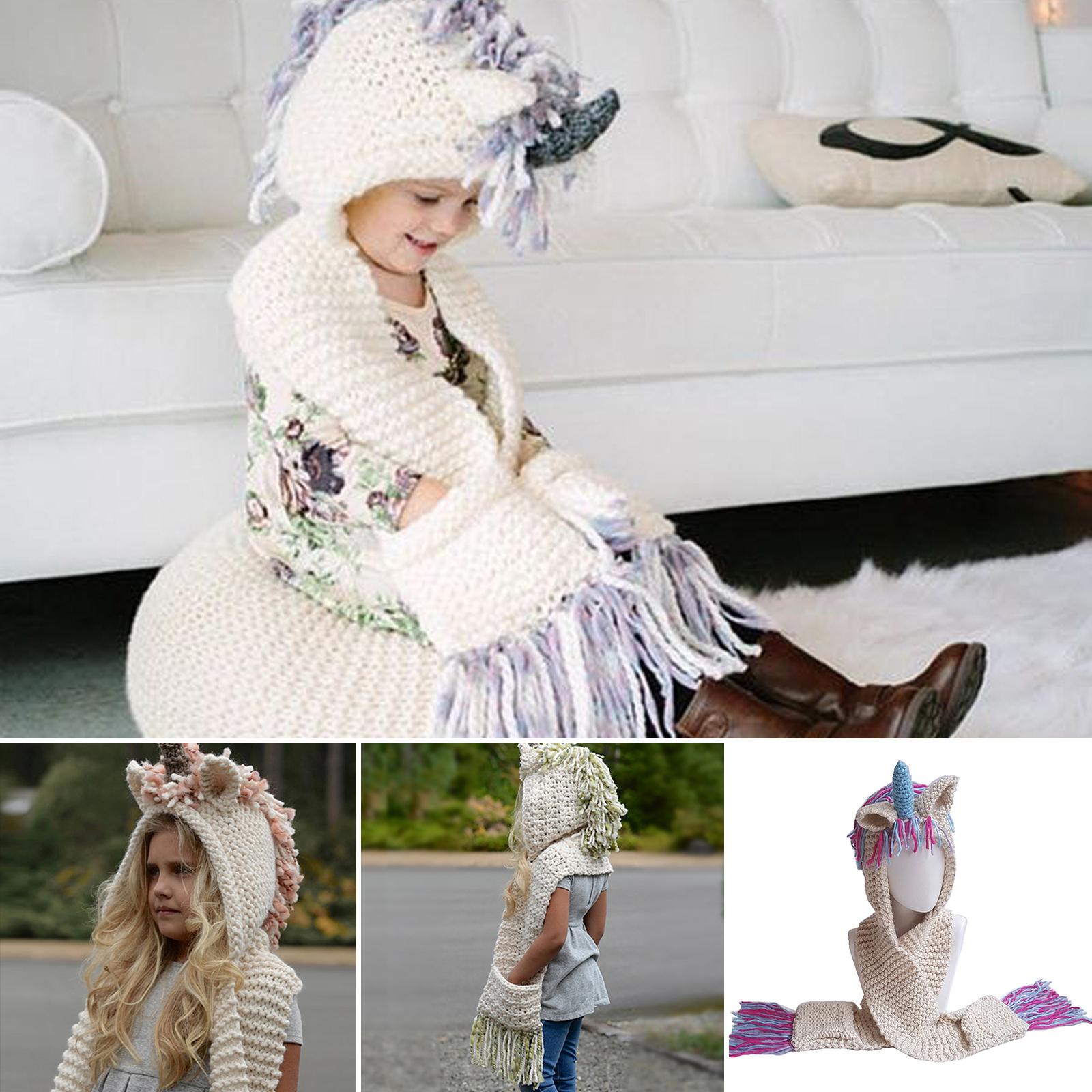 81f86ca0b Warm Kids Girls Hat Beanie Cute Unicorn Hooded Scarf Earflap Winter ...