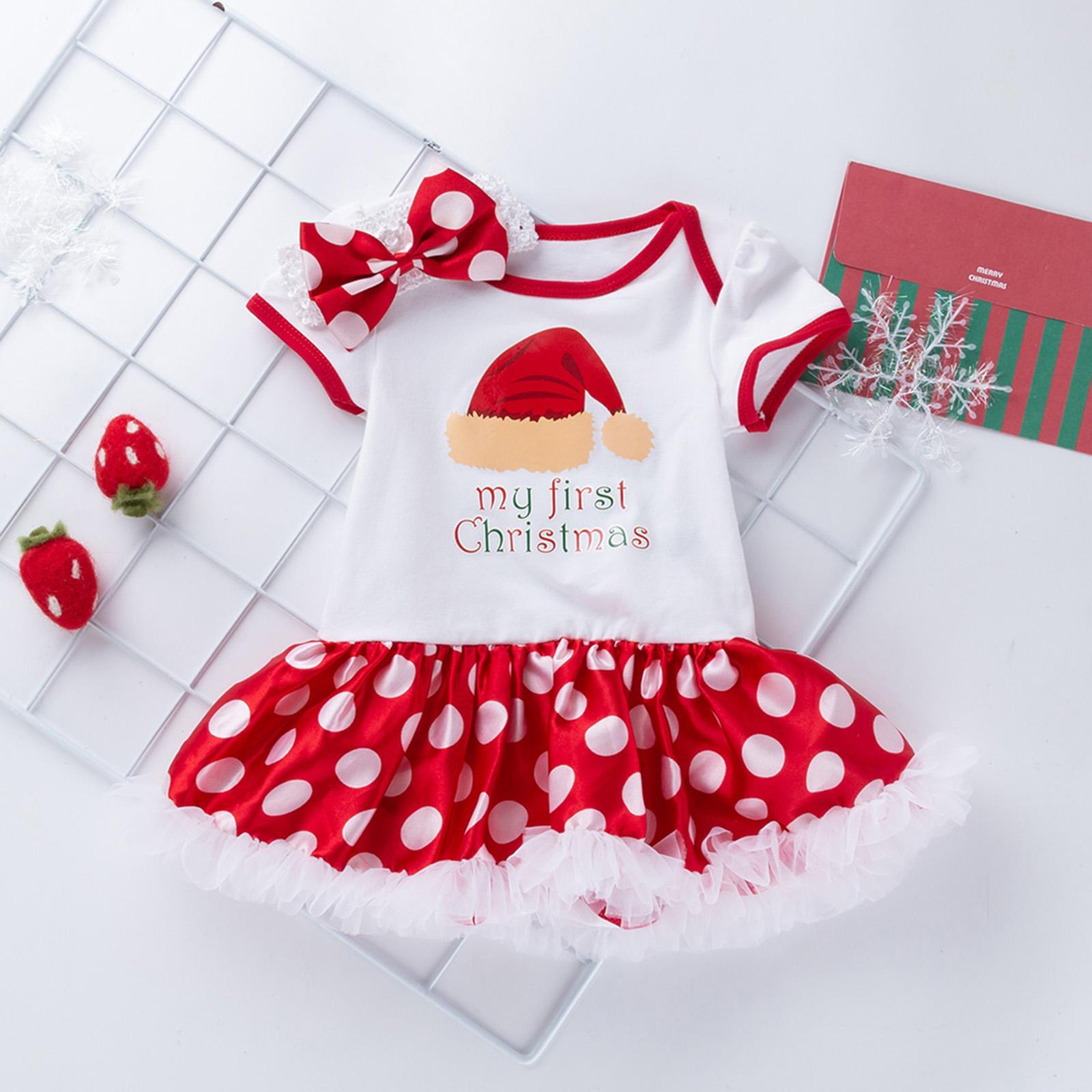 Christmas Baby Girls Infant Romper Tutu Dress Bodysuit Headband ...