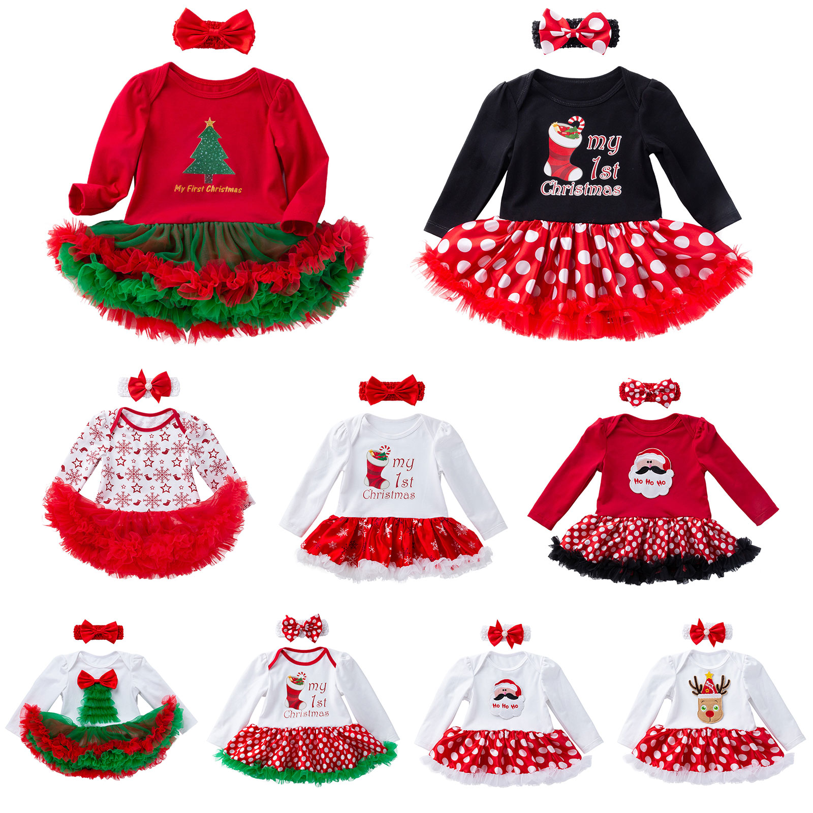 2PCS Baby Girls Tutu Dress Headband Outfits Newborn Christmas Cotton ...