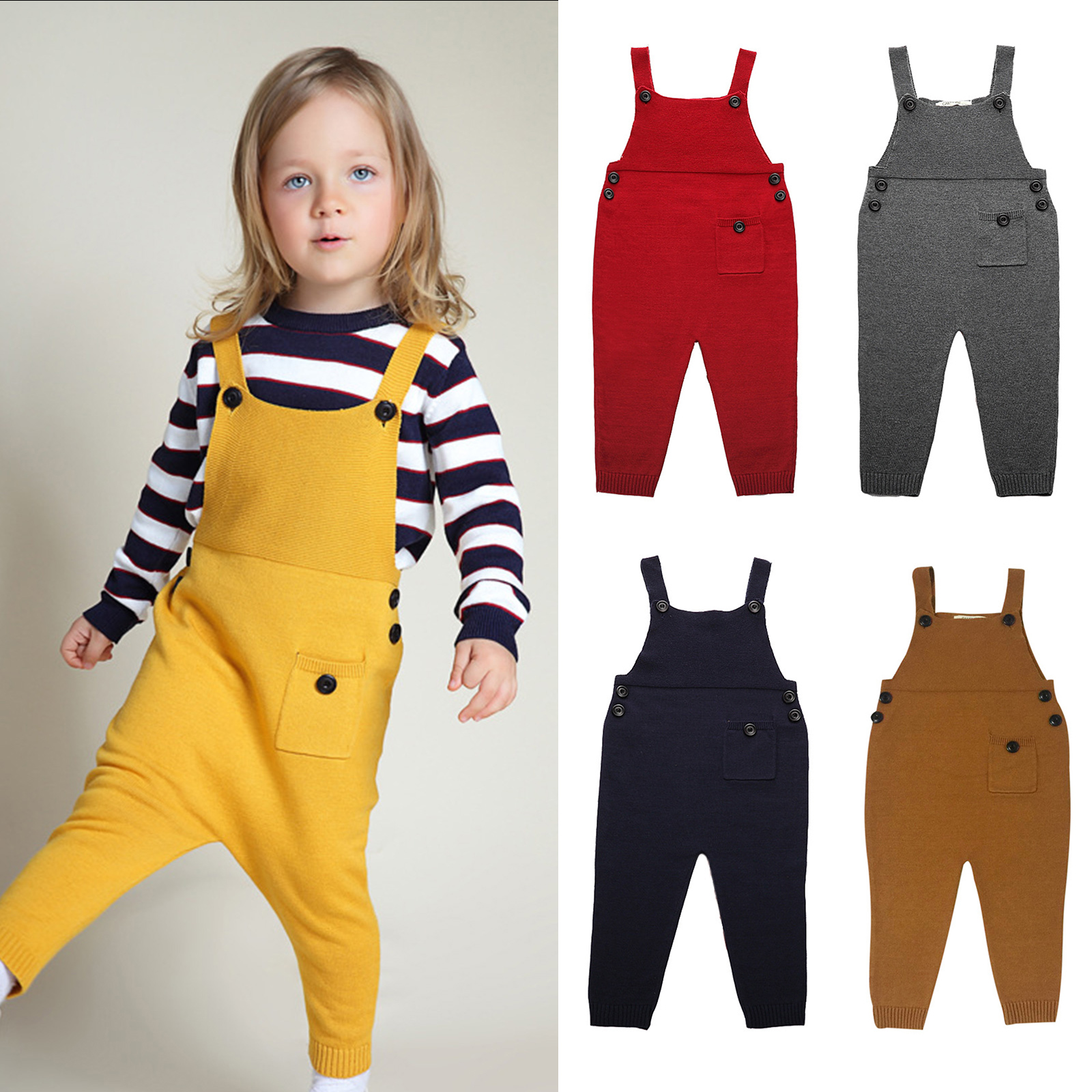 Baby Kids Boys Girls Knit Suspender Trousers Long Bids Pants Jumpsuit Overalls